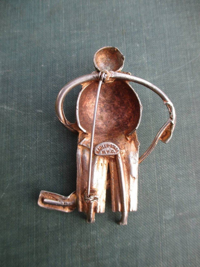 Amazing Vintage Designer Figural Hockey Player Brooch