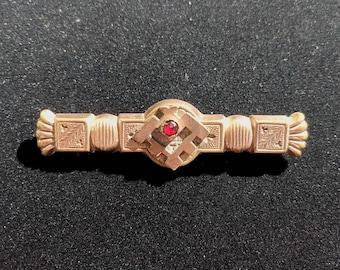 Victorian Gold Fill & Garnet Bar Brooch