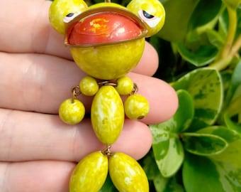 Vintage Green Frog Celluloid Plastic Pendant