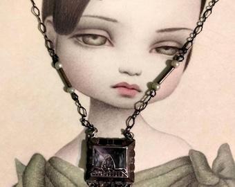 Vintage 1910s Sterling & Glass Crystal Pendant Necklace