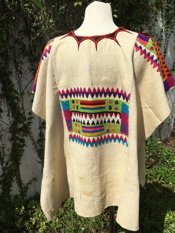 1970's Colorful Handmade Embroidered Poncho