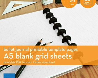 A5 | Blank Grid Sheets | Bullet Journal Printable Template | Dot grid | 5mm