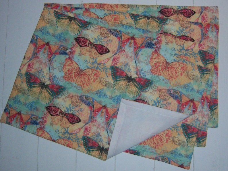 Set of Four Quilted Butterfly Placemats