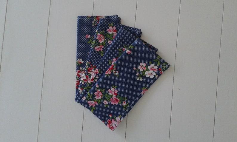 Set of Four Cotton Blue Flowered Napkins