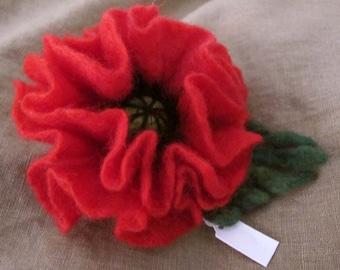 SALE Felt brooch red poppy flower Mother's day gift idea