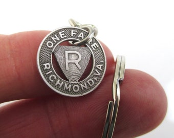 Erie PA Transit Token Keychain Repurposed Vintage Silver Tone Coin Key Chain  Fob