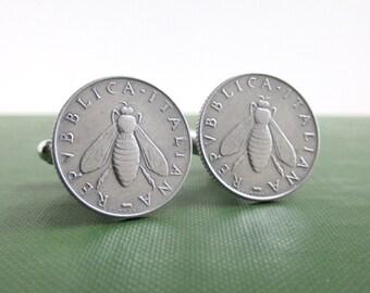 Italian Lire Silver Bee Cufflinks