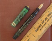 Parker Lucky Curve Lady Duofold Fountain Pen - Marbled Green w Ring Top 14K Nib - Not Working