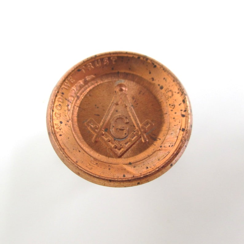 Coin Cuff Links Repurposed Masonic Square /& Compass Pennies  USA Coins