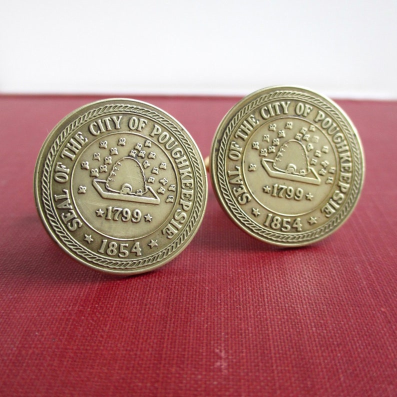 Repurposed Vintage Gold Tone  Brass Seal of the City Coins Poughkeepsie NY Transit Token Cuff Links