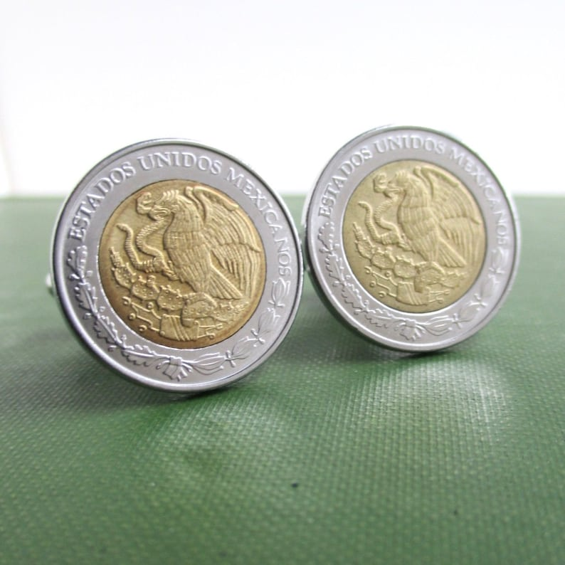 MEXICO Peso Cuff Links - Two Tone Gold / Silver Repurposed Vintage Mexican  Coins