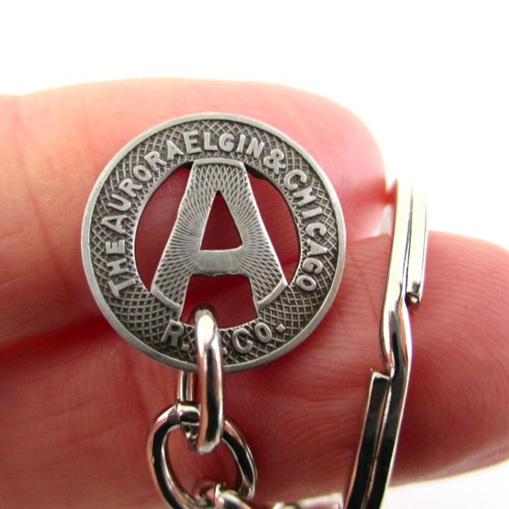 IL Transit Token Keychain Aurora Repurposed Vintage 1940/'s Coin Key Chain Fob