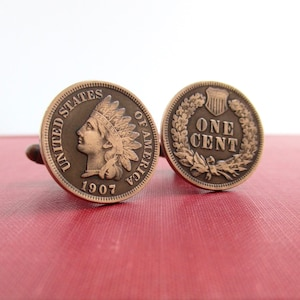 Denver Mint Cuff Links Repurposed Copper Pennies from Uncirculated Treasury United States Mint