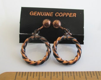 Solid Copper Earrings - Vintage Unused Carded - Clip On Dangling