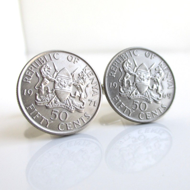Repurposed Vintage Republic of Kenya Coins KENYA Coin Cuff Links