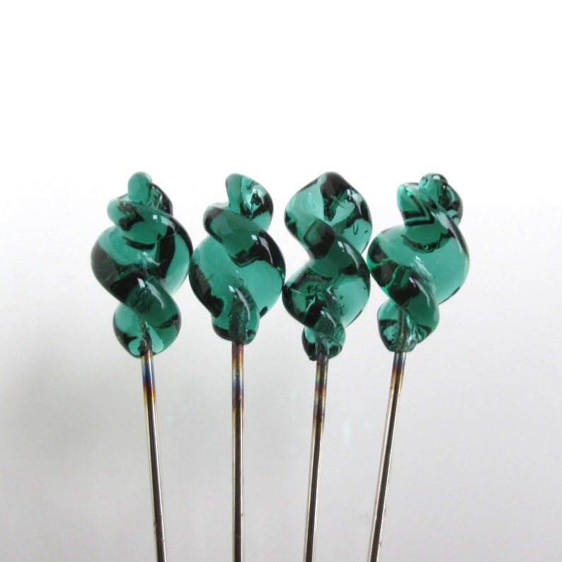 4 Vintage Green Glass Stick Pins Nice Swirl Shape 3 38 in Length