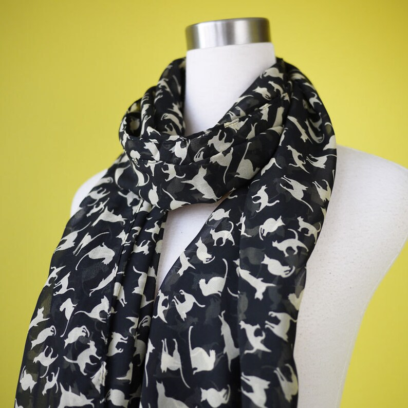 Cat print scarf black cat scarf chiffon scarf causal long image 0