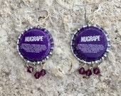 Bottle Cap Earrings Vintage Nugrape Dangle OOAK with Crystals