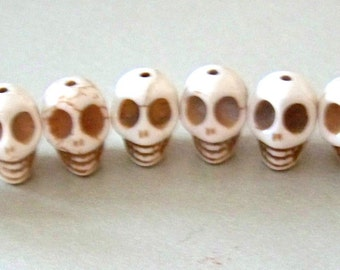 SKULL 12mm by 10mm Beads Howlite Cream Colored, Craft, Jewelry Supply