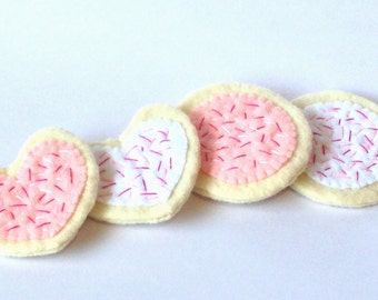 Felt food cookie set, eco friendly play food, pretend food for play kitchen, felt cookies, toy cookies, felt sugar cookies, felt play food