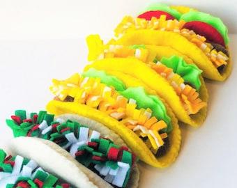 felt food taco, pretend play food taco, felt taco