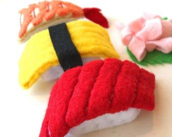 felt food sushi set, eco friendly toy sushi, pretend food for play kitchen, felt sushi, pretend play sushi, kid's play food sushi set