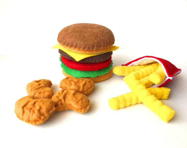 Felt food Hamburger french fries chicken nuggets set eco image 0