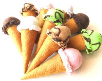 Felt food Ice cream sugar cone, eco friendly play food, felt ice cream, play food ice cream, pretend play food, toy food for play kitchen
