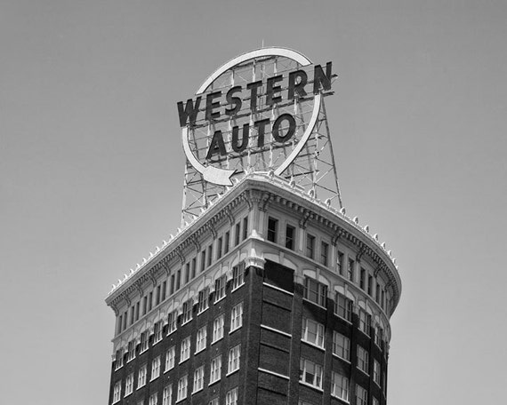Kansas City Western Auto Building Sign Kansas City Art Print Etsy