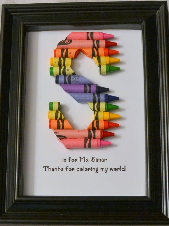 Fast Shipping 5 X 7 Framed Teacher Gift Personalized Crayon Etsy