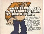 Vintage JEANS ADVERTISEMENT H.I.S. Super Lo-Rise Jeans Demin Magazine Ad Paper Ephemera Cartoon Advert Funny Ad Comical Advertising