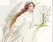 Antique Easter Postcard Easter Joys, James Pitts, Vintage Postcard cancel 1914, Angel with flowers