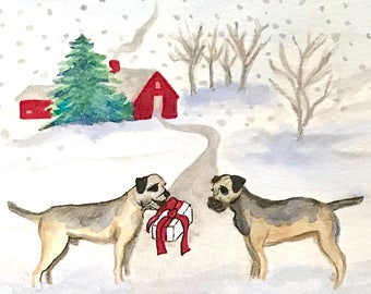 Border terrier print, art for dog lovers, dogs in winter holiday gift, 8x10 white matte, 4x6 giclee, Have a merrier terrier Christmas