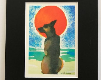German Shepherd art, dog watercolor print, matted 8x10, glossy finish, CHOOSE black or white matte, pet memorial