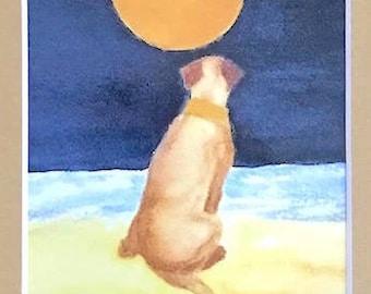 Yellow Labrador Retriever art, small watercolor print, tan matte 5x7, small giclee gift for friend or pet memorial