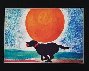 Black Lab watercolor giclee, Labrador Retriever on the beach, dog watercolor print, beach house decor, BLACK matte 8x10