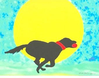 Labrador retriever art, Black Lab watercolor giclee print, dog on beach, pet memorial, 5x7 in 8x10 matte, gift for pet lover