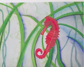 Seahorse art, sea horse watercolor giclee print, matted 8x10 inch white matte, fine art paper, 100-year archival inks