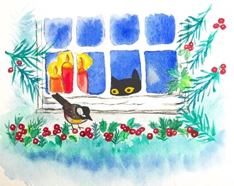 Black cat art with bird, painting print giclee in a white matte 8x10 inches, gift for pet lovers, kitten winter scene