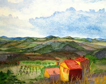 Italy rooftops art, Tuscany watercolor giclee print, Italian home decor, Approaching Montepulciano, Siena Italian landscape, matted 8x10
