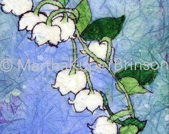 Lily of the Valley art, batik style watercolor giclee, Art Deco Muguet des Bois print, CHOOSE black or white 8x10 matte