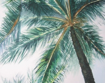 Palm tree watercolor print, small beach art giclee, Maui Hawaii, matted 5x7, dark forest green matte