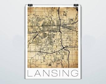 East lansing map art   Etsy
