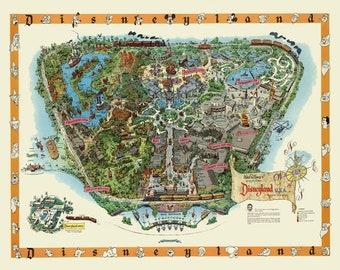 image relating to Printable Disney World Maps named Disney global classic map Etsy