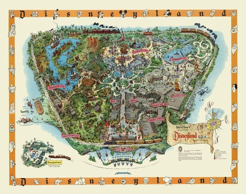 photo regarding Printable Disneyworld Maps titled Disneland - Map - Print - Poster - Disney - Disney Planet - Typical