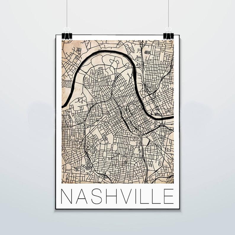 Nashville - Tennessee - Map - Commodores - Print - Poster - Street Map -  Vanderbilt University - Grunge