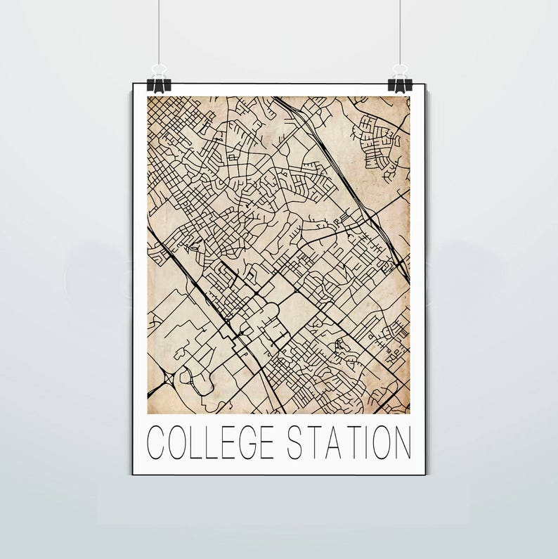 College Station Texas Map Aggies Texas A&M Print | Etsy on