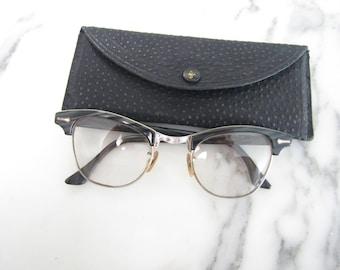 dbaf48cc4f52 Vintage 1950 s SHURON Diamond 12K Gold Filled Silver Toned Men s Horn  Rimmed Bifocals Eye Glasses Glass Frames-size 4-5 1 4 plus Case