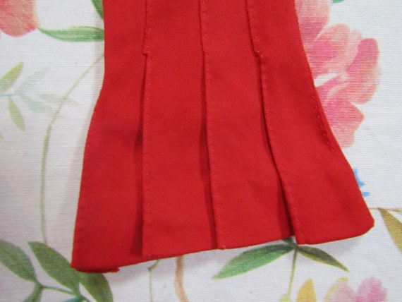 Vintage True Red Pleated Cotton Gauntlet Evening … - image 2