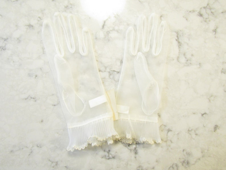 Vintage NOS--New--Dead Stock--NWT/'s  Sheer Ivory Chiffon Wrist Gloves with Ruffles---8.5 long---Size 6 to 6 12--Glove Auction #1746--0819